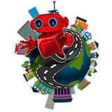 Robot on the globe
