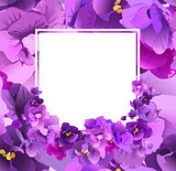 Violet floral frame for greeting card