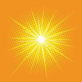 bright star with rays pop art retro background