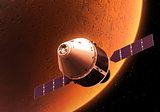 Spacecraft Orbiting Red Planet