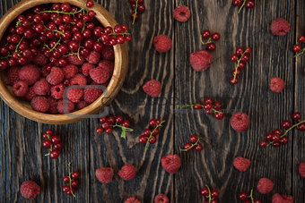 Fresh berries on wooden table