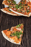 Pizza with chicken and mushrooms