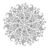 Monochrome Mendie Mandala with flowers and leaves
