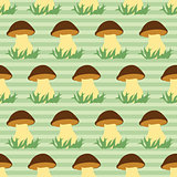 Seamless pattern with porcini on green striped background.