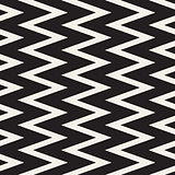Vector Seamless Black and White ZigZag Vertical Lines Geometric Pattern