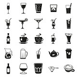 beverages simple black icons set