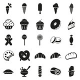 SImple minimal black dessert icons set