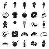 SImple minimal black dessert icons set
