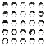 male hairstyle black simple icons set