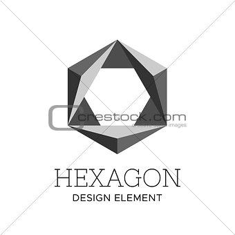 Flat gray polygonal hexagon logo vector template