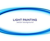 Vector banner design with blue light curves