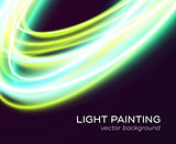 Vector banner design with blue-green light curves