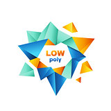 Colorful polygonal crystal logo vector design