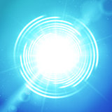 Shining sun or portal on blue vector background