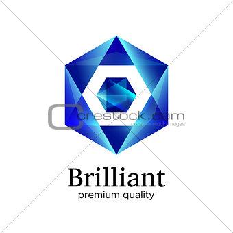 Blue shiny polygonal hexagon diamond vector icon