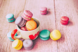 Macaron on wood table, Vintage style.
