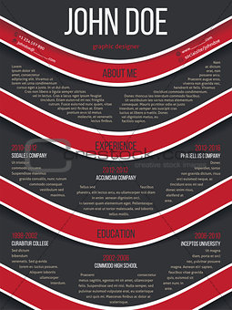 Modern resume cv template with red waves