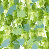 Hops leaves seamless background