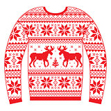 Ugly Christmas jumper or sweater with reindeer and snowflakes red pattern