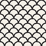 Vector Seamless Black And White Hand Drawn Rounded Lines Oriental Pattern