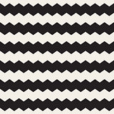Vector Seamless Black and White ZigZag Horizontal Lines Geometric Pattern