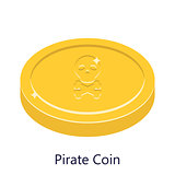 Pirate coin gold vector illustration. Skull sign on golden money.