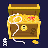 Pirate treasure chest full of gold coins and pearl vector.