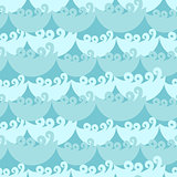 Blue water curly waves seamless pattern.