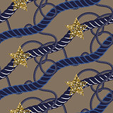 Navy blue marine rope knot seamless pattern with gold star.