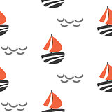 Sailboat seamless kid vector pattern in scandinavian style.