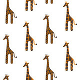 Giraffe cute vector seamless pattern. Safari animal texture stains background.