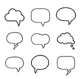 Minimal hand-drawn speech bubbles set