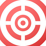 Target closeup red vector background.