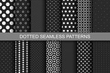 Seamless patterns with circles and dots.