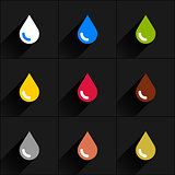 Drop icon set in simple flat style