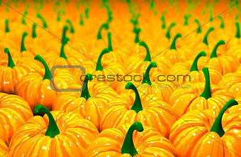 3d illustration background of pumpkins