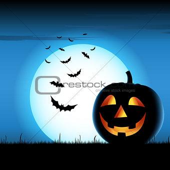 Grinning pumpkin with bats on blue backgound halloween