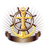 Nautical emblem with golden anchor, vector