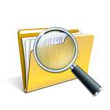 Magnifying glass over the yellow folder