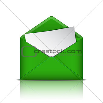 Green open envelope with blank paper