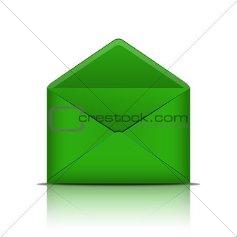 Green open envelope isolated on white background.
