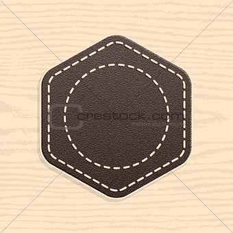 Blank leather badge in retro vintage style