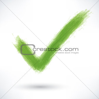 Green check mark sign with gray shadow