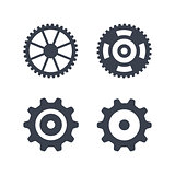 Machine gear wheel vector icons isolated on white