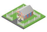 house isometric 3d illustration vector