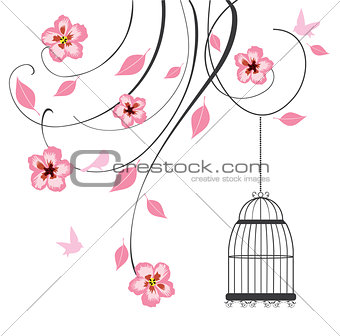 Floral background with cage