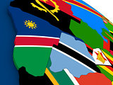 Namibia and Botswana on globe with flags