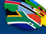 South Africa on globe with flags
