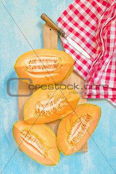 Sliced honeydew melon as summer refreshment