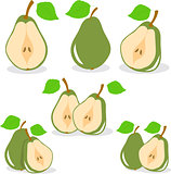 Pear, vector, green pears